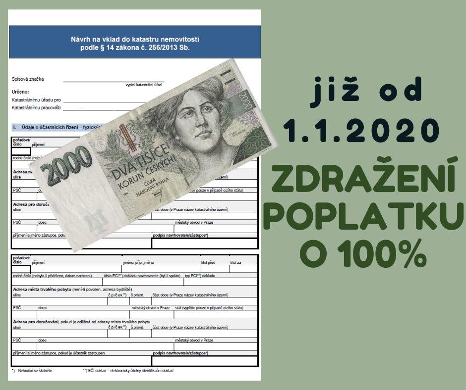 Od 1.1.2020 se zvyšuje poplatek za vklad do katastru
